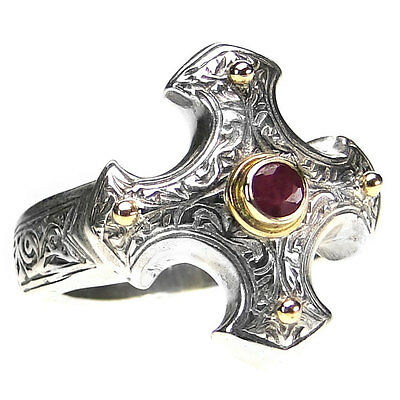 Gerochristo 2714 ~ Solid Gold, Silver & Ruby -  Medieval-Byzantine Cross Ring