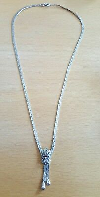 traumhaftes Collier Kette Silbercollier in 835  Silber Granat  italy 43 cm