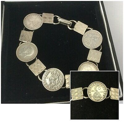 Vintage Antique Jewellery Silver 1911 George V Three Pence Coin Charm Bracelet