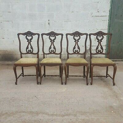 Antique Vintage Set of 4 French Chairs with Carvings and Wax-finish