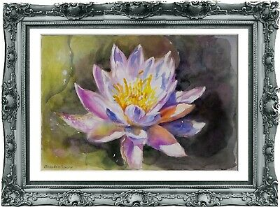 original drawing art Flowers lotus 315UV art watercolor A3