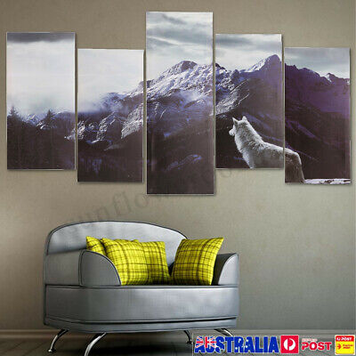 2019 Snow Mountain Wolf Canvas Print Art Painting Home Decor Wall Picture Framed