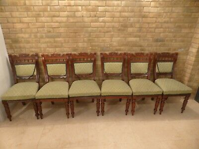 Set of 6 Six Antique Victorian Oak Dining Chairs, green upholstery