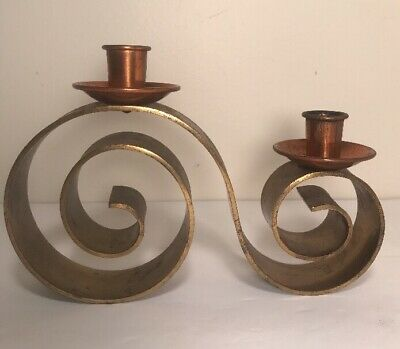 Vintage Arts & Crafts Style MCM Brass And Copper Candelabra