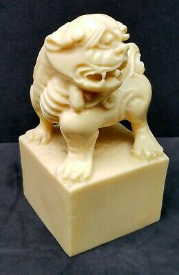 Figural Chinese Imperial Guardian Lion Shishi Foo Dog Wax Seal Stamp Faux Bone