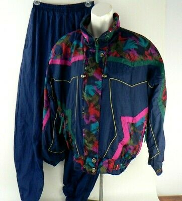 Vintage 90s Windbreaker Tracksuit Jacket Track Pants Navy Multi Womens Medium M