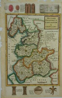 Antique Map of Lancashire by Herman Moll 1725