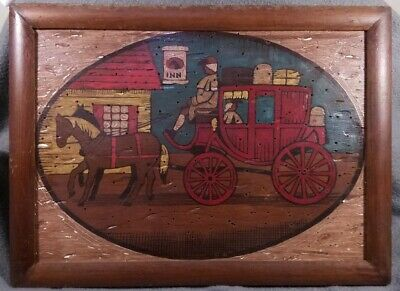 Hand Painted Wood Tack Note Wall Board Horse Stagecoach Early American Inn Scene