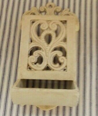 Vintage Cast Iron Match Holder Wall Mount chlk painted off white farm house