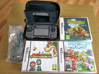 Nintendo DS Lite BLACK Handheld System/Console With Games Bundle