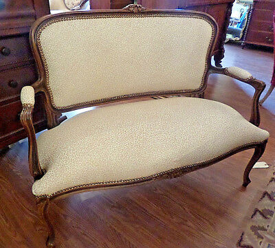 Antique Upholstered Settee Sofa Queen Anne Style  Restored