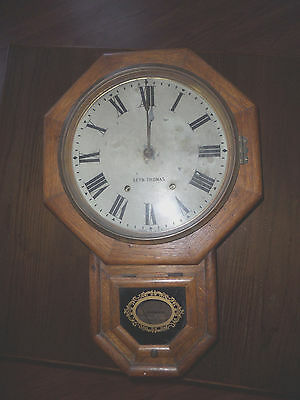 Antique Seth Thomas Round Regulator Wall Clock Oak Case