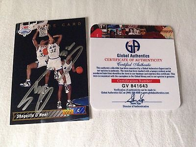Shaquille O'Neal HAND SIGNED 92 Upper Deck Trade GLOBAL AUTHENTICS COA Stock #02