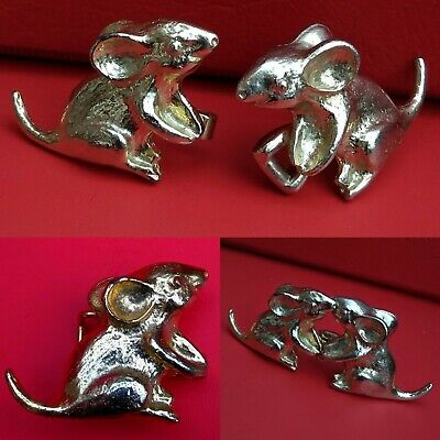 VINTAGE Mimi Di Discemi Gold Tone Mouse Mice Belt Buckle SIGNED 1974 Collectible
