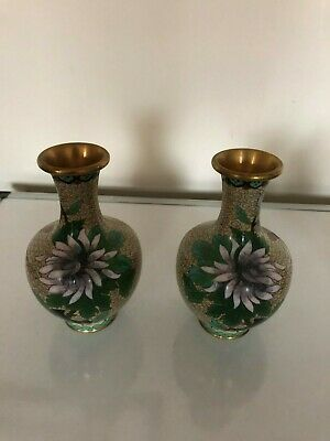 "Lovely Pair Of Decorative Bulbous Shaped Cloissone Vases  6.5"" Tall"