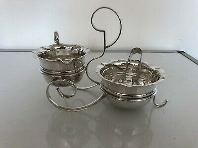 Nice Silver Plated Milk Jug & Sugar Bowl On A Silver Plated Stand With Tongs