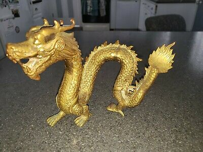 Large Vintage Asian Chinese Dragon Sculpture Solid Brass Or Bronze