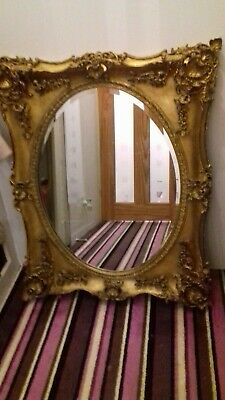Gold square vintage mirror frame,oval beveled edge, boroque style.