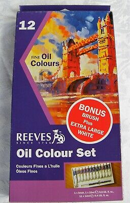 REEVES Oil Colour Set of 12 - 11 Colours x 12 Ml Large White 22 Ml and Brush NIB