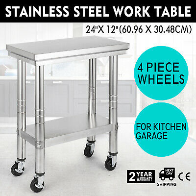 "Commercial Stainless Steel Kitchen Work Table Bench Catering 24"" x 12"" +4 Wheels"