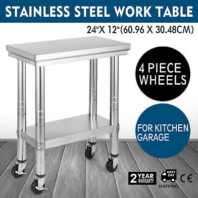 "12""x24"" Stainless Steel Work Table 4 Casters 2 Tier Commercial Setting Garage"
