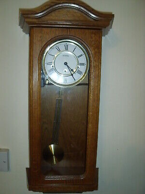 William Widdop 8 Day Mechanical Wind Up Oak Case Wall Clock Westminster Chime