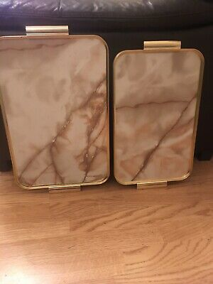 Pair Of Vintage, Marble Effect Gold Anodised Tea Serving Trays, Knee Trays