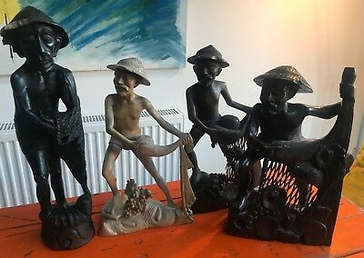 "4 x large Chinese Fisherman Carved Wooden Statue Figure 20"" tall"