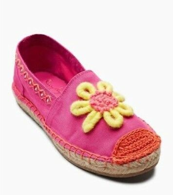 Next Pink Floral Embroidered Espadrilles Summer Shoes Girls Kids Uk13 2 6 New