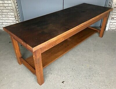 Antique Vtg 7' Solid Oak Wood School Work Table Bench Masonite Top