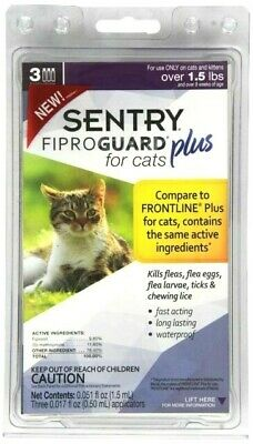 Sentry FiproGuard Plus for Cats & Kittens over 1.5 lb.   3 Month Supply 🐈🐈🐈