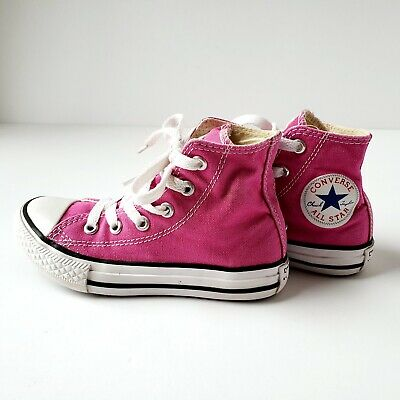CONVERSE Chuck Taylor All Star Hi Top Pink Shoes Youth Kids Girls Sneakers 3J234