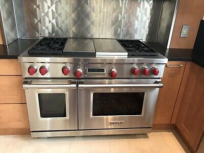Wolf 48 Dual Fuel Range 4 Burners Griddle Grill Used Good