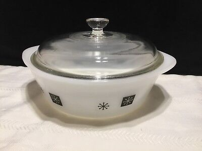 Vintage Inland Glass Atomic Starburst Casserole baking Dish with Cover (R93)