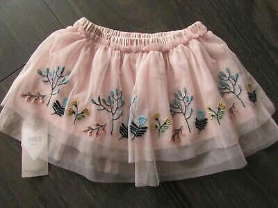 baby girls pretty pink soft net embroidered skirt from M&S age 9-12mths,BNWT