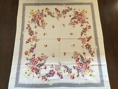 "Vintage Tablecloth White with pink gray yellow flowers floral 44 X 50"" (M59)"