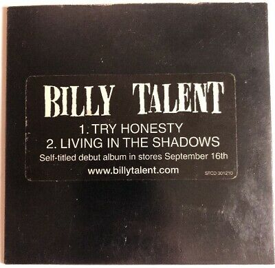 Billy Talent promo CD: 2 Tracks Try Honesty & Living In The Shadows R1 Paper