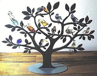Swarovski Crystal Paradise Large Display With Set Of 12 Birds And Parrots Rare