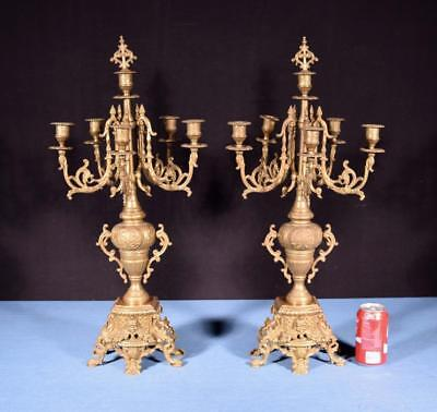 "*XL 27"" Tall Pair of French Neo Gothic Brass Bronze Candelabra Candlesticks"