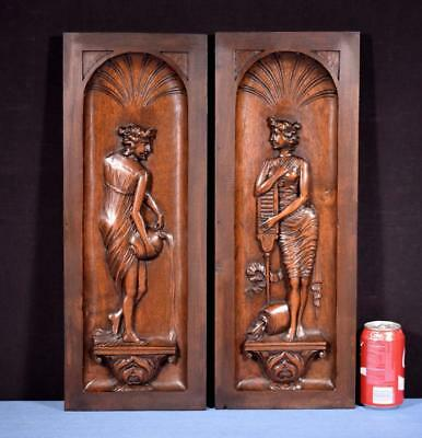 *Pair of Antique French Highly Carved Panels in Walnut Wood Salvage with Women