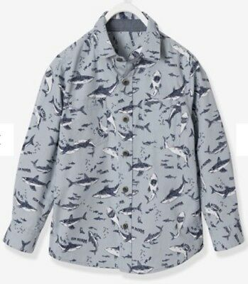 BNWT vertbaudet Boys' Printed Poplin Shirt - blue light all over printed/ 10 Yrs
