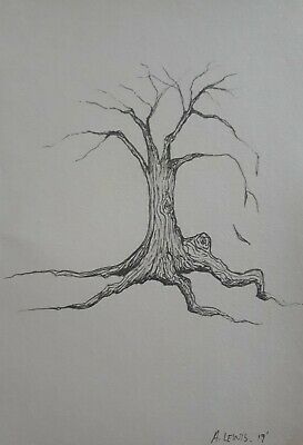 Original Drawing, Lone Tree, Minimalism by Brisbane artist