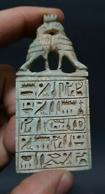 Rare Antiques Ancient Egyptian Talisman Amulet With Hieroglyphics Egypt Stone BC
