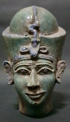 ANCIENT EGYPTIAN ANTIQUES Rare Head Of Queen Toya Egypt Blue Glazed Stone BC