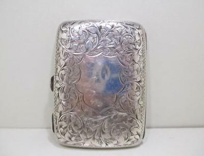 Antique English Art Deco Sterling Silver Cigarette Case Money Wallet Card Holder