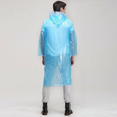 2 x Disposable Adult Emergency Waterproof Raincoat Poncho Hiking Camping Hood UK