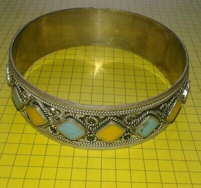ANCIENT VIKING ENGRAVED SILVER ENAMEL BRACELET artifact very Stunning