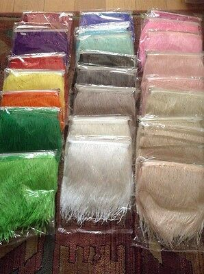 56 COLOURS! 1 Metre Ostrich Feather Quality Satin Ribbon Trimming Fringe 10-15cm