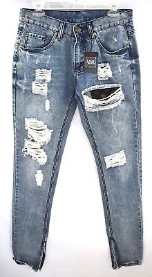 54b52ed92 Young & Reckless Mens Tapered Skinny Jeans Distressed Faded Zipper Hem Sz  30/35