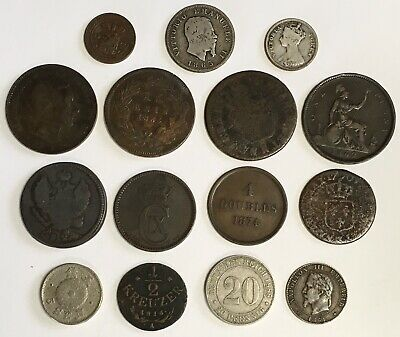 Fun Assortment ~ 15 Foreign Old World Coins 1700s to 1800s + Silver $.99 AUCTION